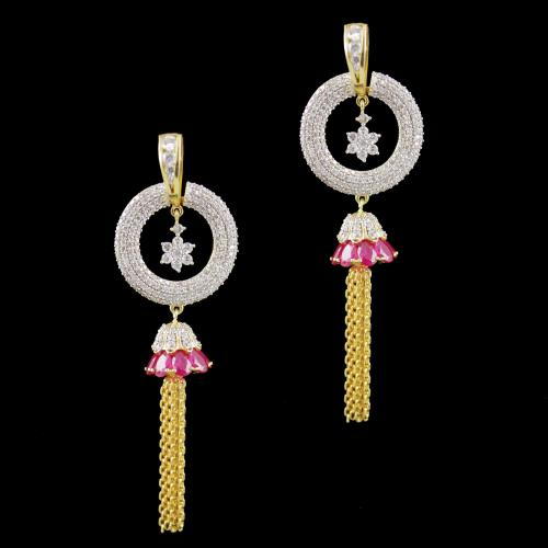 Gold Plated Zircon And Ruby Stone Party Wear Jhumka Earrings