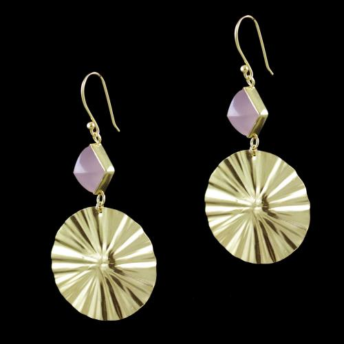 Gold Plated Chalcedony Stone Hanging Party Wear Earrings