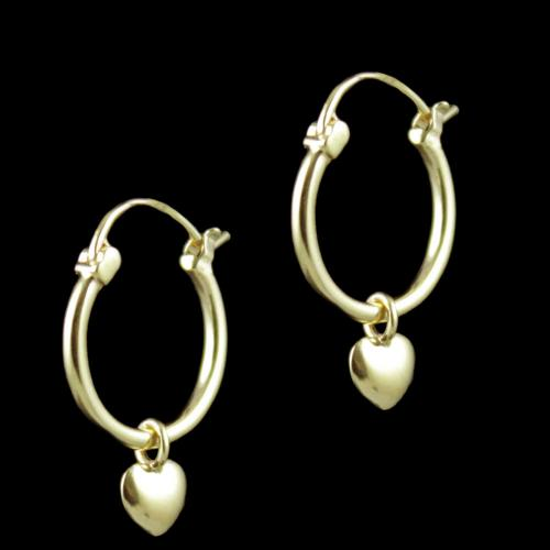 E5636 Sterling Silver Gold Plated Bali Earrings With hanging Hearts