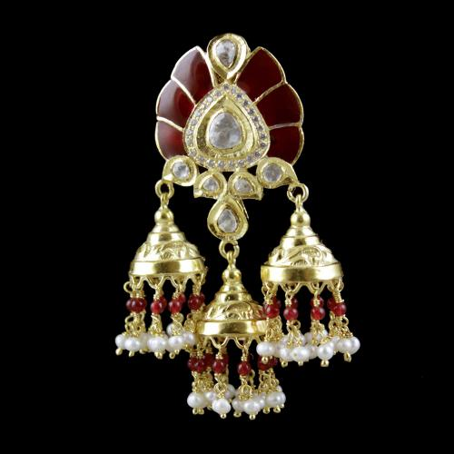 Gold Plated Multi Stone Bridal Jhumka Party Wear Earrings