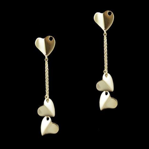 Gold Plated Heartin Shape Drops Casual Wear Earrings