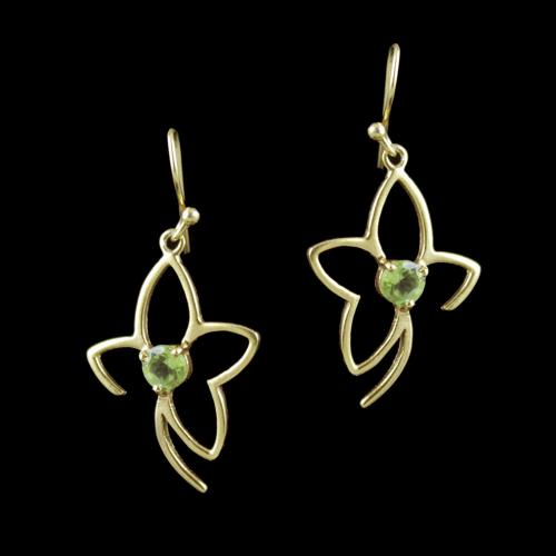 Gold Plated Peridot Stone Floral Hanging Party Wear Earrings