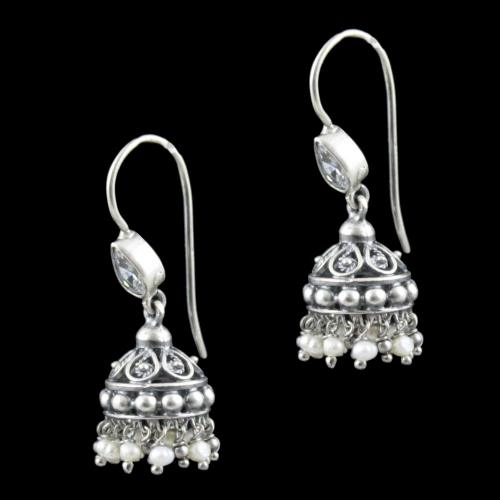 Oxidized Silver Pearl And Zircon Stone Jhumka Earrings