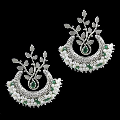Oxidized Silver Pearl And Corundum Stone Chandbali Earrings