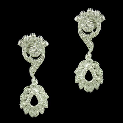 Zircon Stone Floral Design Party Wear Earrings