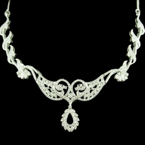 Zircon Stone Floral Design Party Wear Necklaces