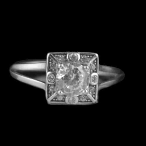 Sterling Silver Party Wear Rings With CZ Stones