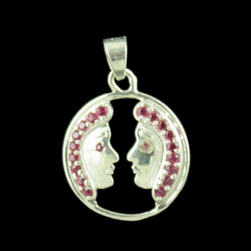 Zodiac Gemini Silver Pendant With Zircon Stone