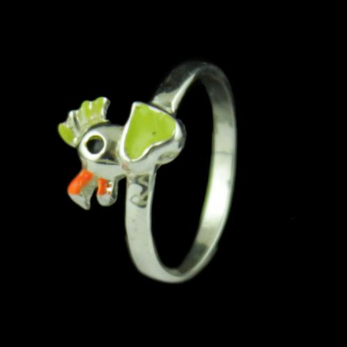 Silver Baby Rooster Ring