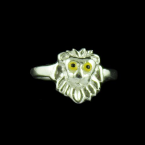 Silver Lion Baby Ring
