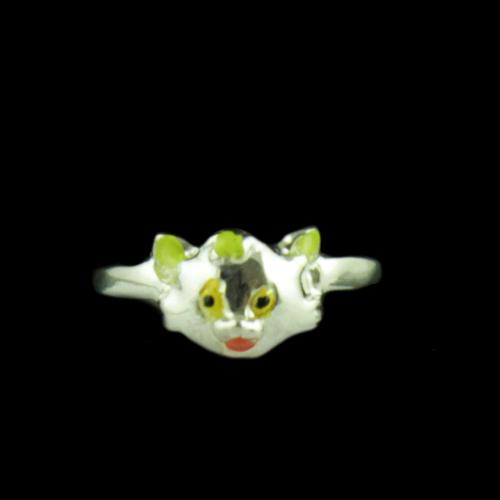 Silver Cat Baby Ring