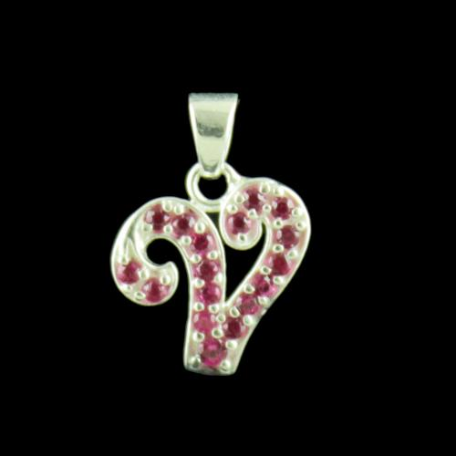 Alphabet V Silver Pendant