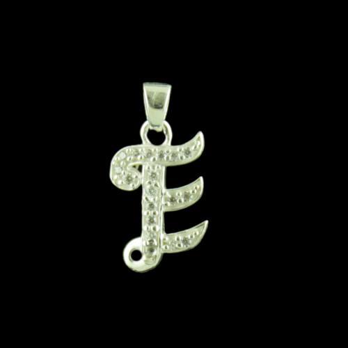 Alphabet E Silver Pendant With CZ Stone