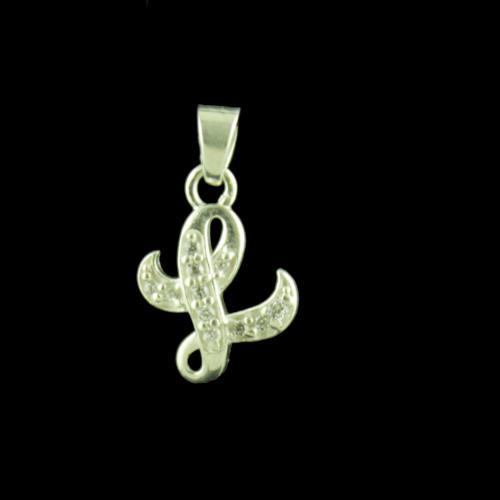 Alphabet L Silver Pendant With CZ Stone
