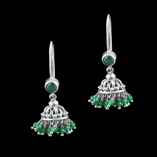 Oxidized Silver Hanging Jhumka Earrings With Green Hydro Stone And Jade Beads