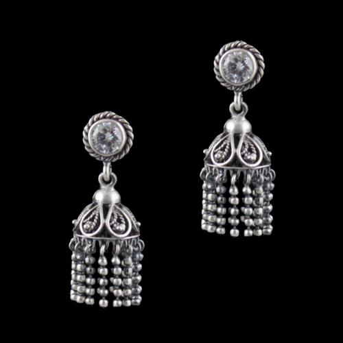 Gold Plated Jhumka Earrings With CZ Stones