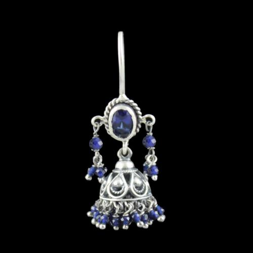 Oxidized Silver Hanging Jhumka Earrings With Blue Sapphire Stone And Pearl Beads