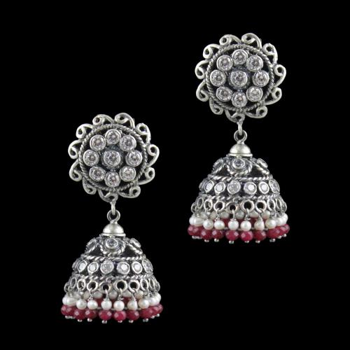 Oxidized Silver Floral Jhumkas CZ Stones With Red Onyx And Pearl Beads