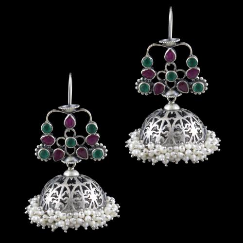 Oxidized Silver Jhumka With Green Hydro Red Corundum And Pearl Beads