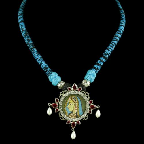 Oxidized Silver Hand Painting Thread Necklace With CZ Red Corundum Stones And Pearl Drops