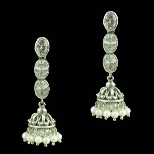 Oxidized Silver CZ Stones And Pearl Beads Jhumkas