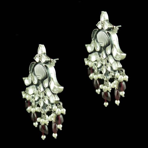 Oxidized Silver Kundan And Garnet Stones Pearl Beads Drops Earrings
