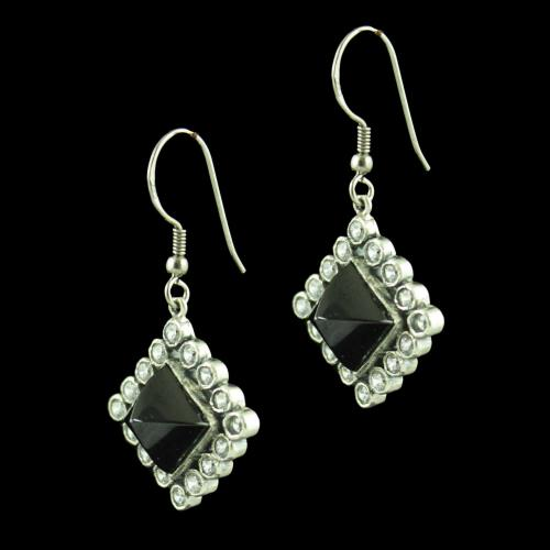 OXIDIZED SILVER HANGING EARRINGS STUDDED ONYX AND CZ STONES