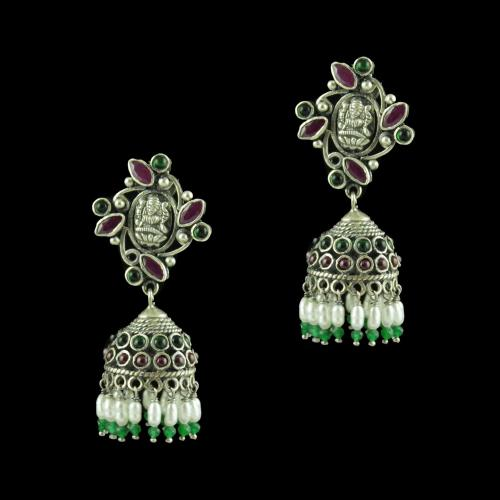 OXIDIZED SILVER JHUMKAS STUDDED RED CORUNDUM GREEN HYDRO STONES AND PEARL JADE BEADS