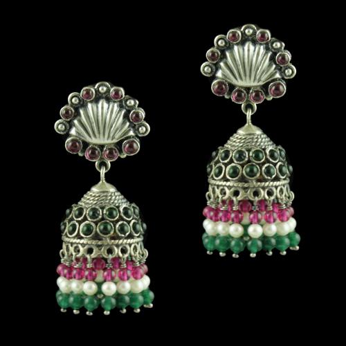 OXIDIZED SILVER JHUMKAS STUDDED RED AND GREEN ONYX STONES AND PEARL JADE BEADS