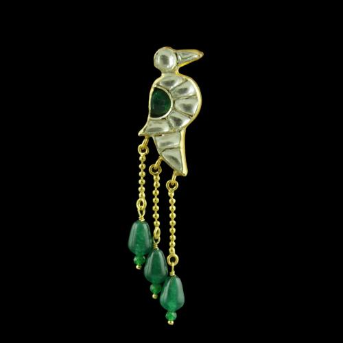 GOLD PLATED PARROT DESIGN KUNDAN STONES EARRINGS WITH BEADS