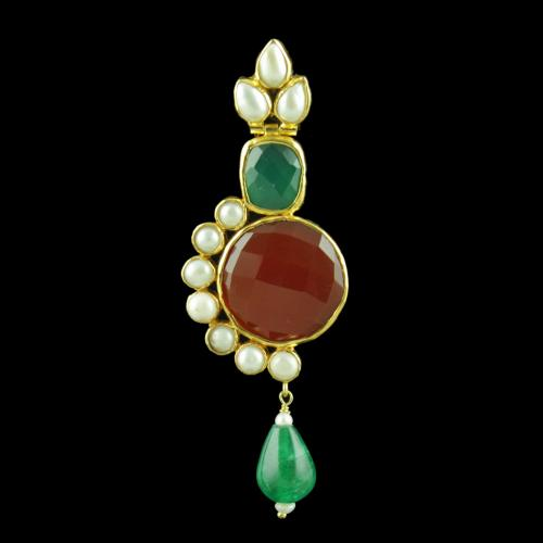 GOLD PALTED ONYX AND PEARL STONES DROPS EARRINGS
