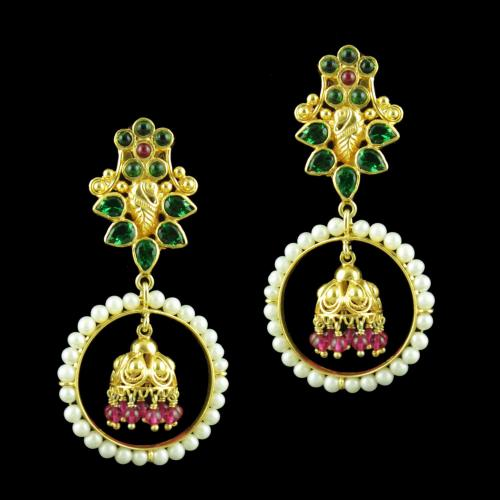 GOLD PLATED DROPS EARRINGS STUDDED WITH GREEN HYDRO PEARL CORUNDUM AND JADE STONES