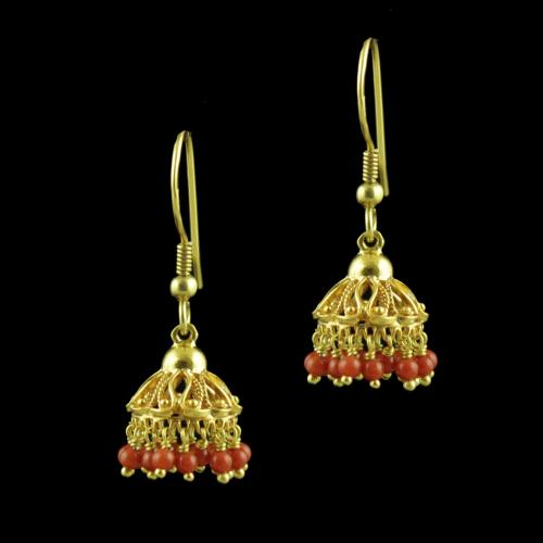 GOLD PLATED TURQUOIST BEADS JHUMKAS EARRINGS