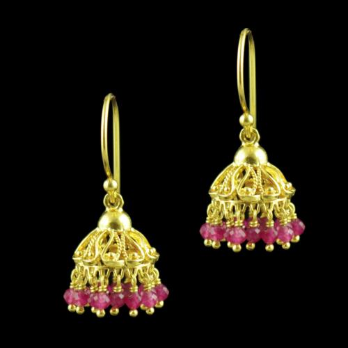 GOLD PLATED HANGING JHUMKA EARRINGS WITH RUBY BEADS