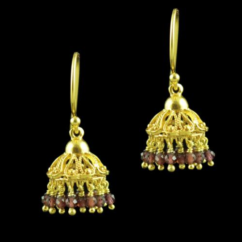 GOLD PLATED HANGING JHUMKA EARRINGS WITH GARNET BEADS