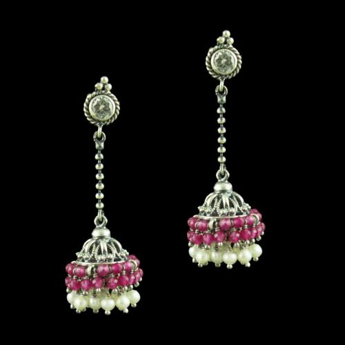 OXIDIZED SILVER CHAIN DROPS JHUMKA WITH RED CORUNDUM AND PEARL BEADS