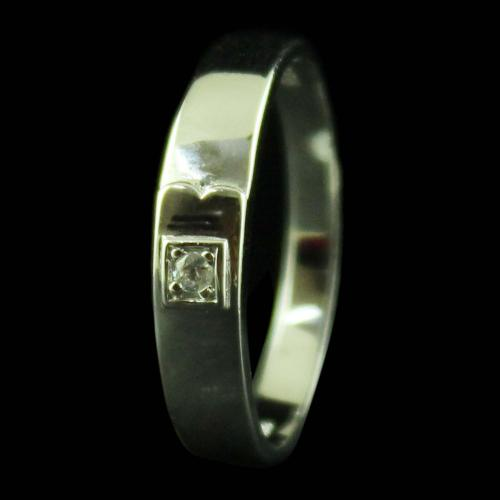 STERLING SILVER WEDDING BAND RING STUDDED ZIRCON STONES