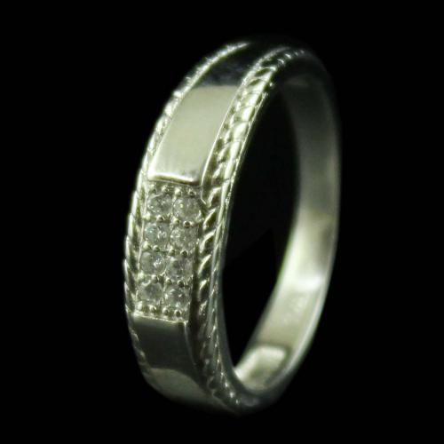 STERLING SILVER RING STUDDED ZIRCON STONES