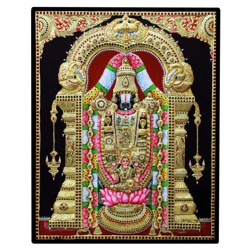 TANJORE PAINTING BALAJI WITH LAKSHMI