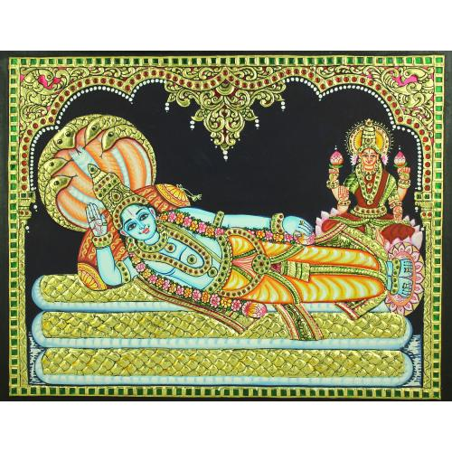 TANJORE PAINTING RANGANATHA SWAMY WITH LAKSHMI