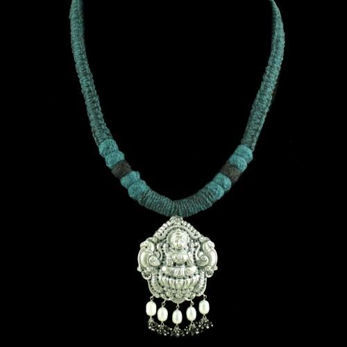OXIDIZED LAKSHMI THREAD NECKLACE WITH PEARL BEADS