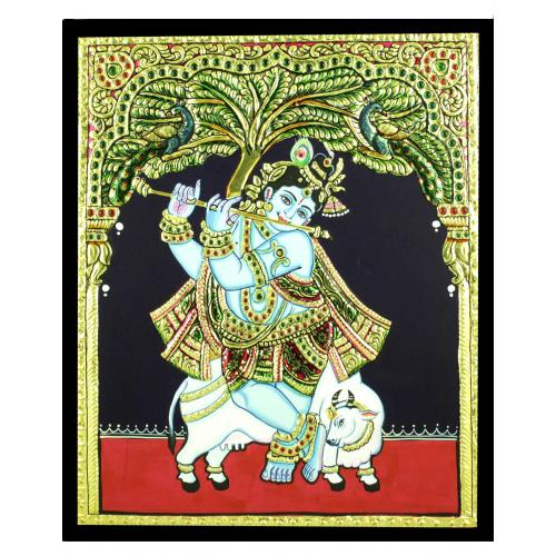 TANJORE PAINTING STANDING KRISHNA WITH COW