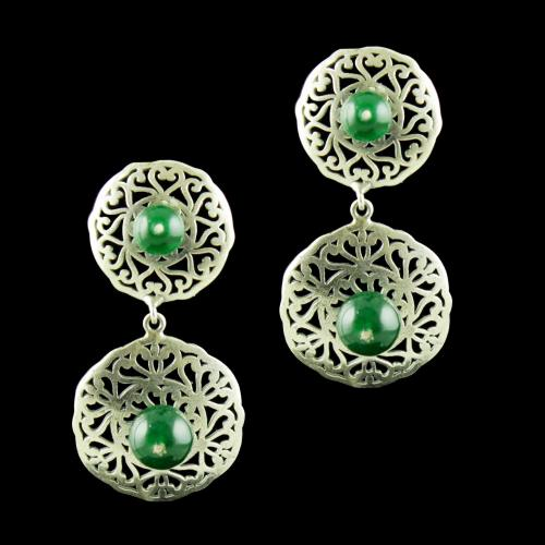OXIDIZED SILVER EARRINGS WITH GREEN ONYX
