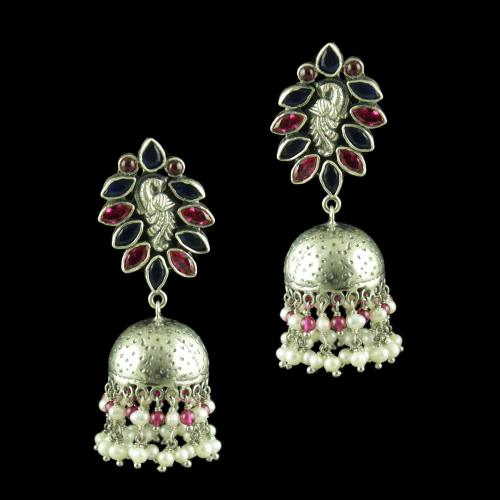 OXIDIZED PEACOCK JHUMKA EARRINGS WITH RUBY BLUE SAPPHIRE AND PEARLS