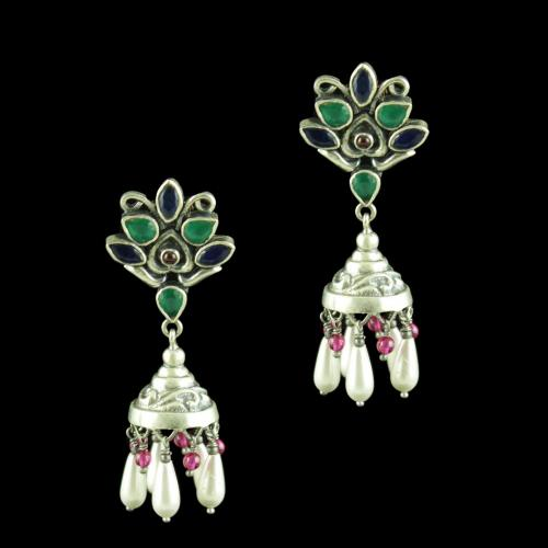OXIDIZED SILVER JHUMKAS STUDDED GREEN HYDRO AND BLUE SAPPHIRE WITH PEARLS
