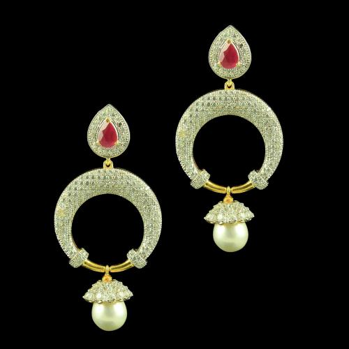 Gold Plated Earrings Studded Zircon Stones