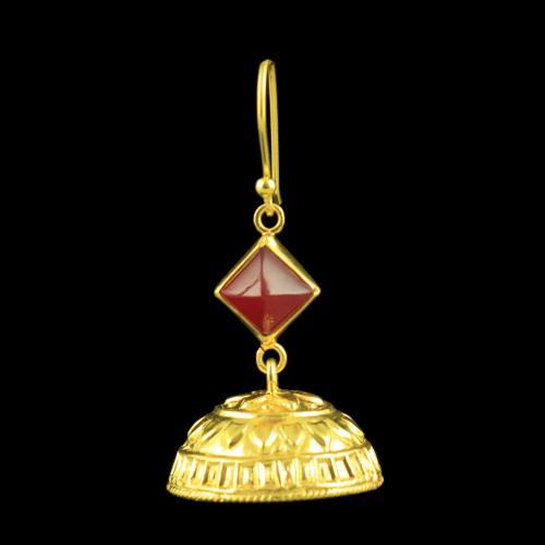 GOLD PLATED JHUMKAS EARRINGS WITH RUBY