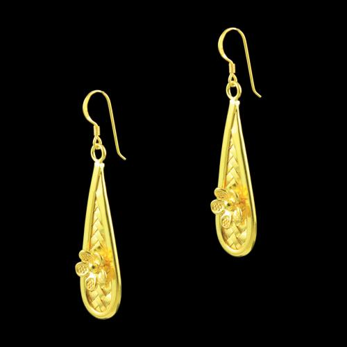Gold Plated Rajdhani Floral Hanging Earrings