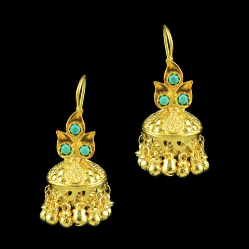 GOLD PLATED JHUMKA EARRINGS WITH TURQUOISE STONES