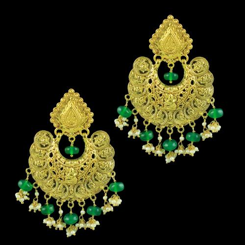 GOLD PLATED LAKSHMI EARRINGS WITH GREEN HYDRO AND PEARLS